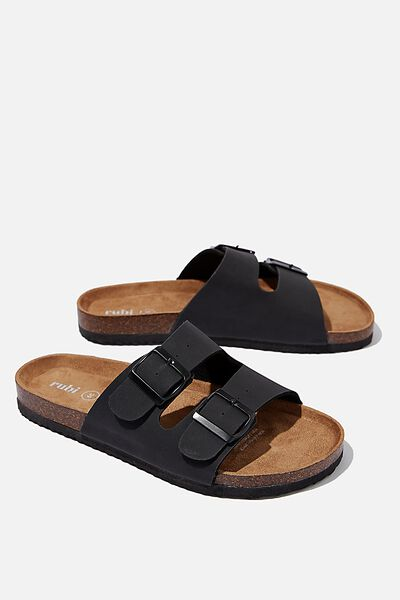 Rex Double Buckle Slide, BLACK NUBUCK
