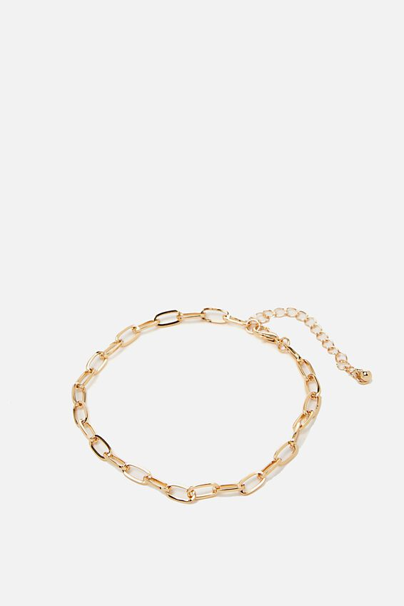 Carrie Chain Anklet, GOLD OPEN LINK