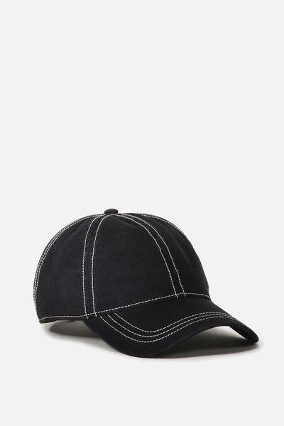 Kaia Cap, BLACK/WHITE TOP STITCH