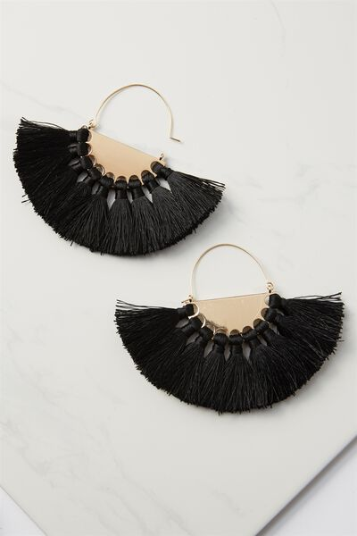 Half Hoop Fan Tassel Earring, BLACK/GOLD