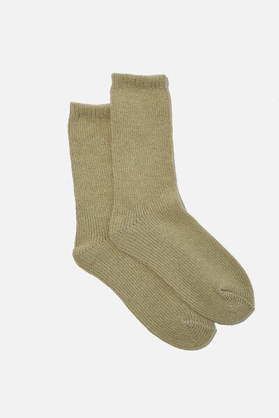 Chenille Cosy Sock, KHAKI