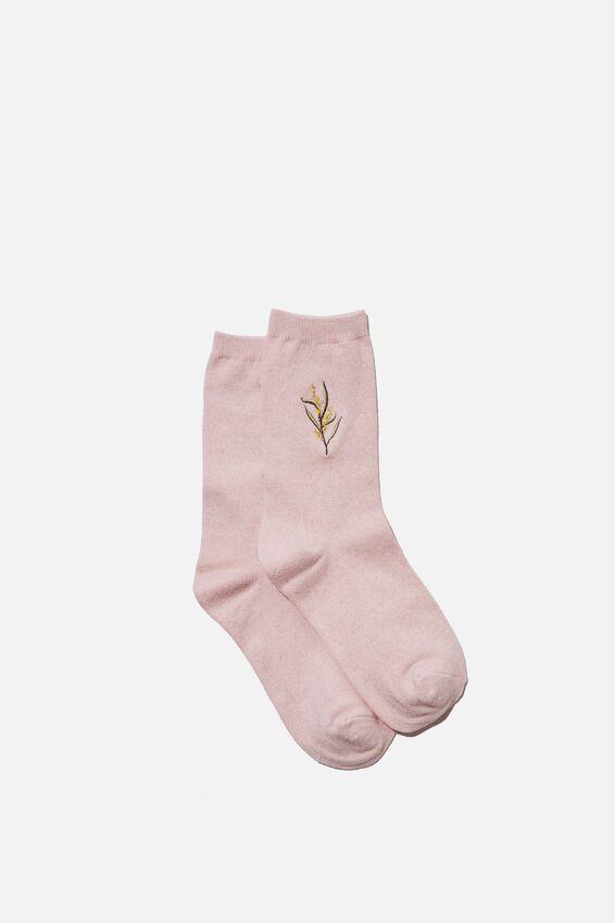 Carrie Crew Sock, BLUSH MARLE WATTLE