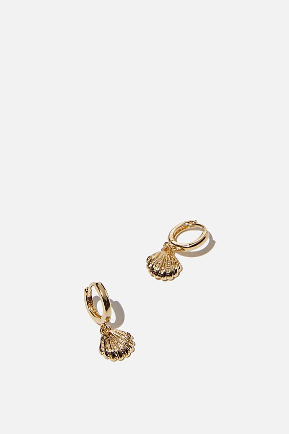 Ear Party Huggie Hoops, GOLD CLAM SHELL