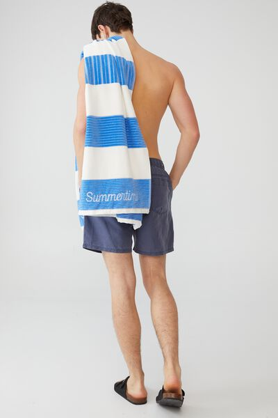 Personalised Bondi Rectangle Towel, CORNFLOWER BLUE HORIZONTAL STRIPE
