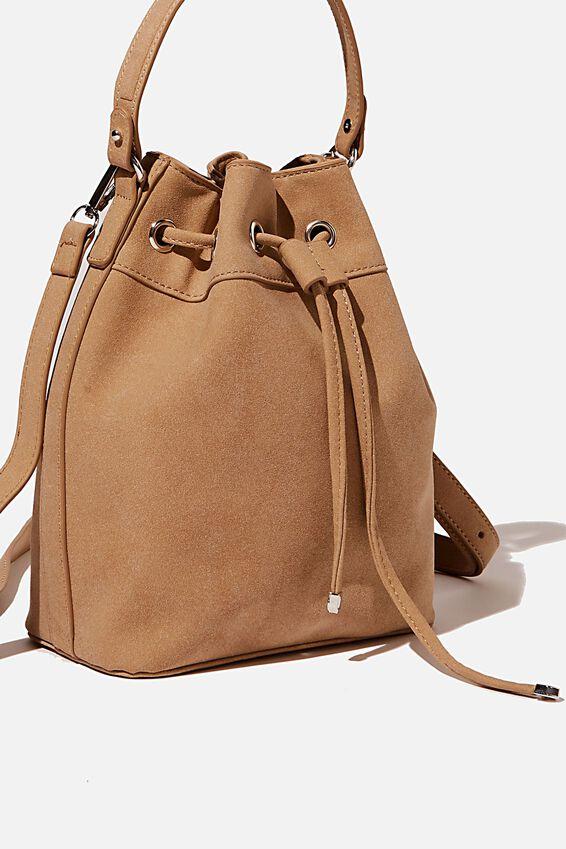 Bella Bucket Bag, SANDSTONE NUBUCK