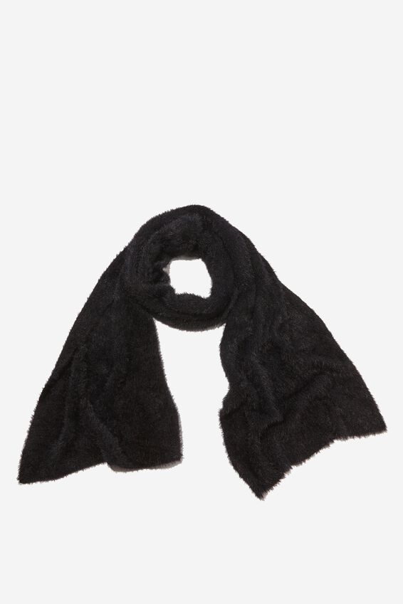 Carrie Cosy Rib Scarf, BLACK