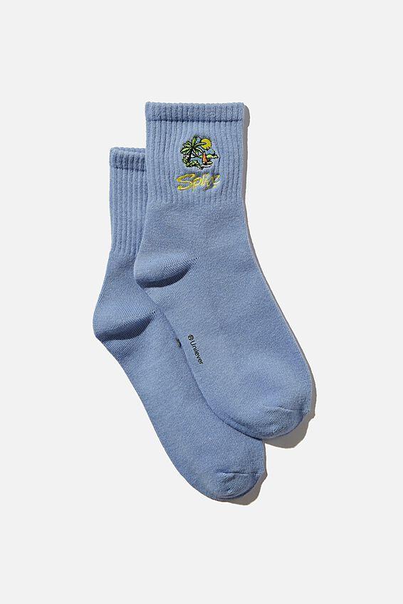 Fine Rib Sports Sock, LCN STR DUSK BLUE SPLICE