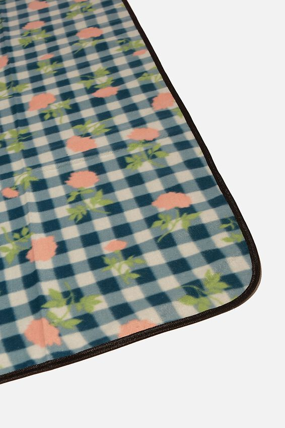Picnic Blanket, DEVON FLORAL BORDER BLACK