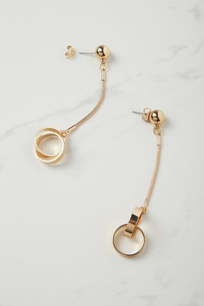Kirstie Drop Circle Earring, GOLD