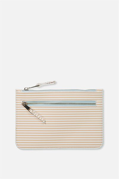 Queens Clutch Purse, CAMEL STRIPE