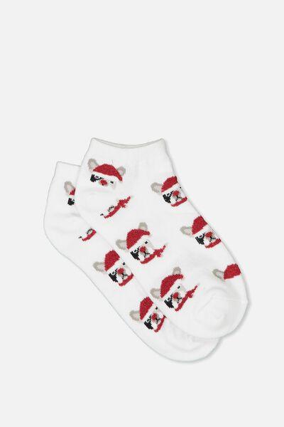 Get Shorty Ankle Sock, PUG SANTA