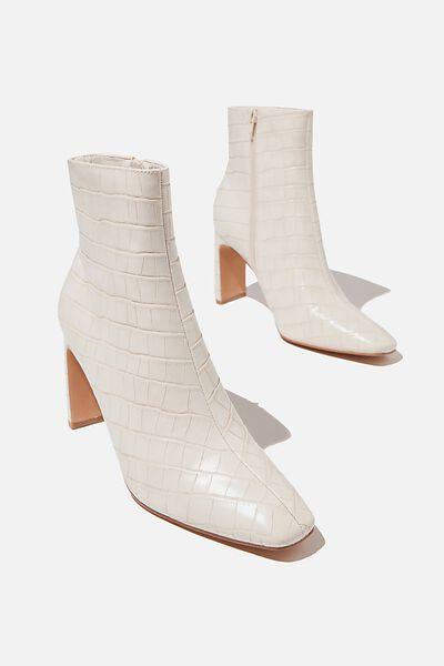 Ellie Square Toe Heel Boot, ECRU CROC EMBOSSED PU