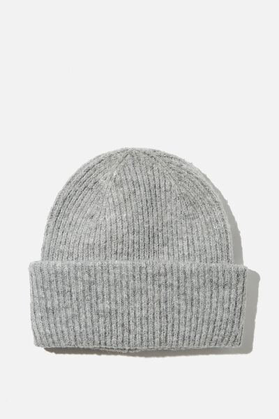 Racquel Ribbed Beanie, GREY MARLE