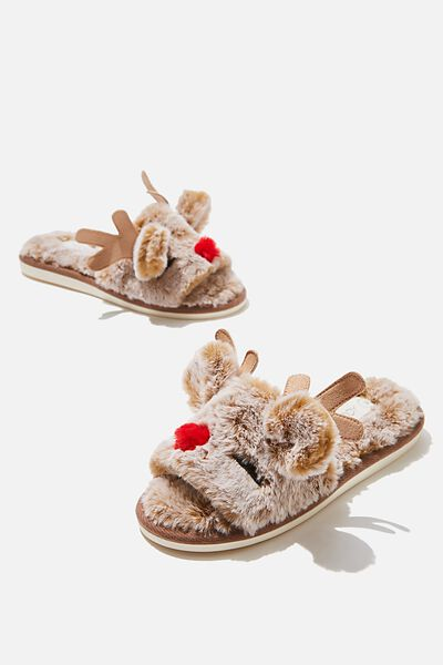 Novelty Slide Slipper, XMAS REINDEER