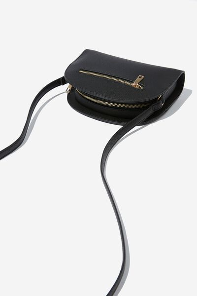 Graceful Half Moon Cross Body Bag, BLACK