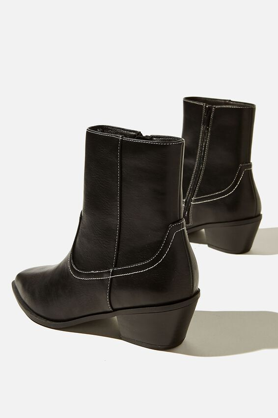 Marlie Minimal Western Boot, BLACK SMOOTH