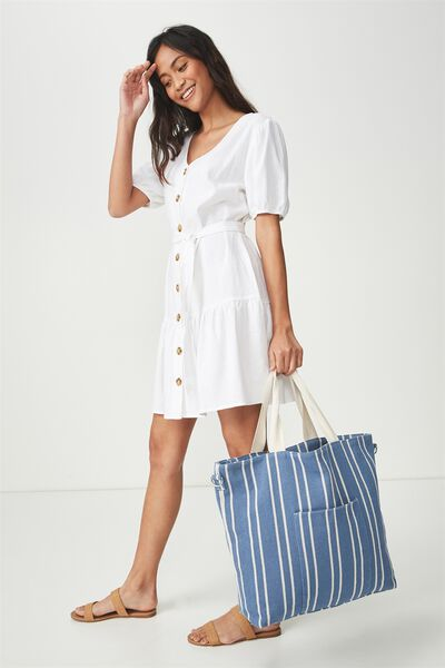 Slouchy Washed Tote, BLUE STRIPE