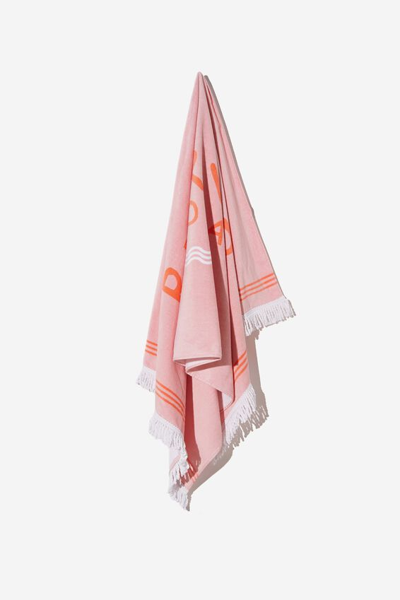 Bondi Rectangle Towel, CALI PINK RESERVED FOR LOCALS