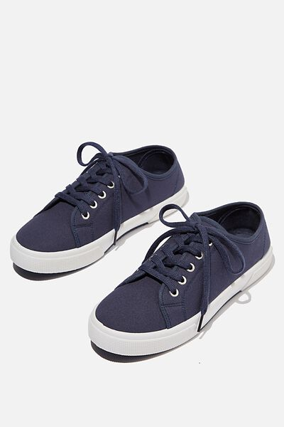 Lisa Lace Up Plimsoll, NAVY CANVAS