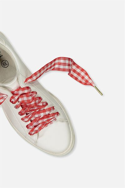 Laced Up Shoelaces, RED/WHITE GINGHAM