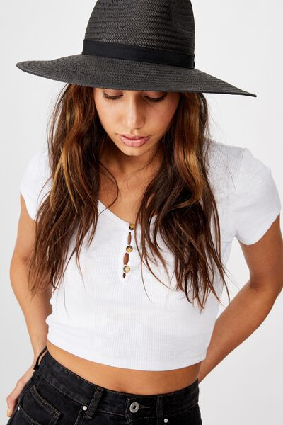 Sabrina Straw Panama Hat, BLACK