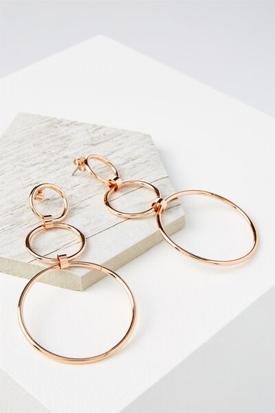 Three Hoop Drop Statement Earring, ROSE GOLD
