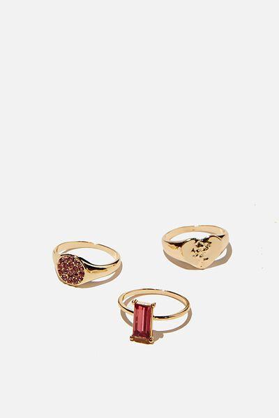 Brighter Days Ring Set, PINK ENGAGEMENT RING GOLD