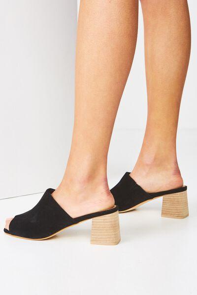 Madrid Mule Heel, BLACK MICRO