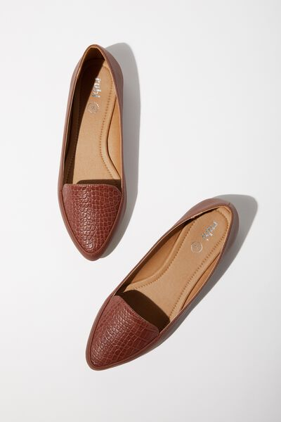 Peta Point Loafer, DEEP TAN CROC EMBOSS
