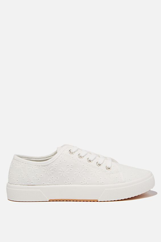 Lisa Lace Up Plimsoll, WHITE BRODERIE