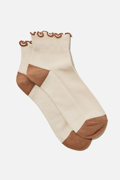 Frill Ribbed Ankle Sock, SAND STONE
