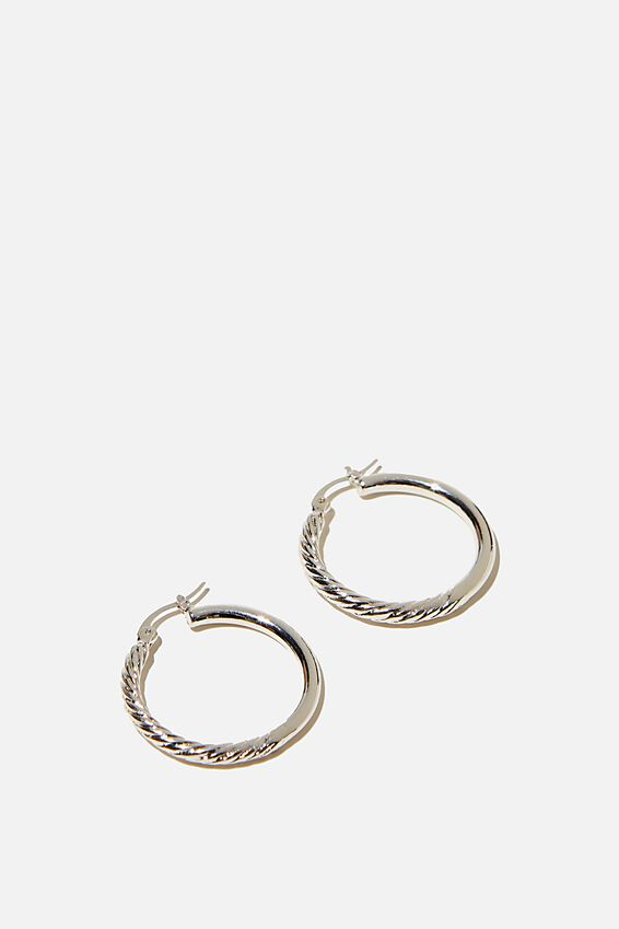 Noughties Hinge Hoop, HALF TWIST SILVER