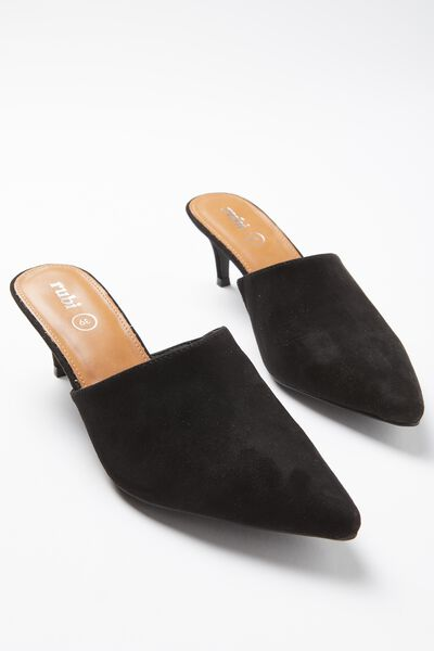Milan Kitten Mule Heel, BLACK
