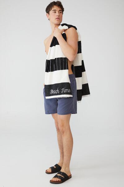 Personalised Bondi Rectangle Towel, BLACK AND WHITE HORIZONTAL STRIPE
