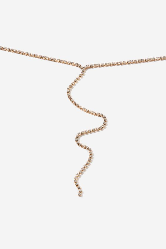 Adorn Bling & Glow Lariat Chain, GOLD
