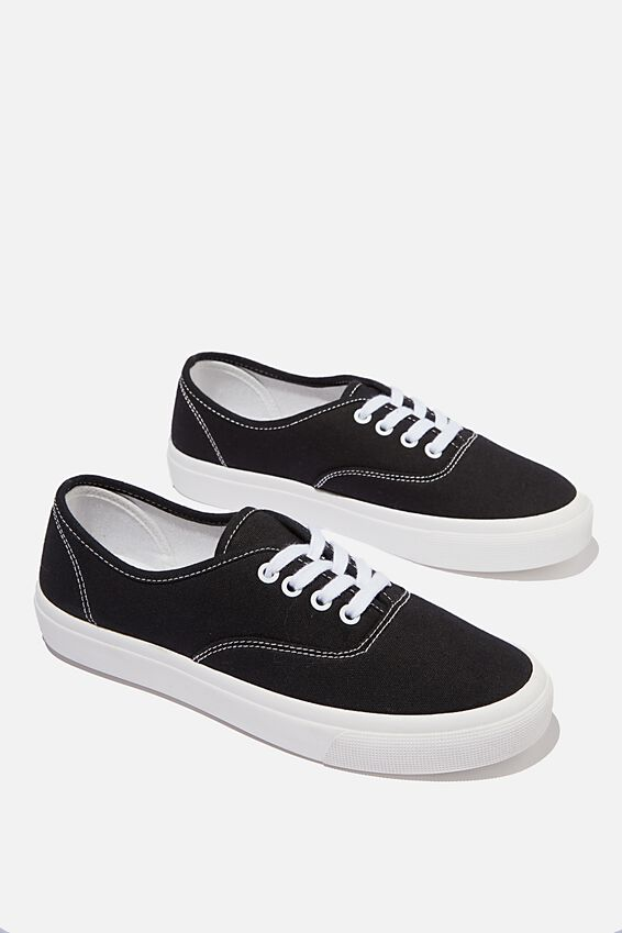 Jamie Lace Up Plimsoll, BLACK WHITE CANVAS
