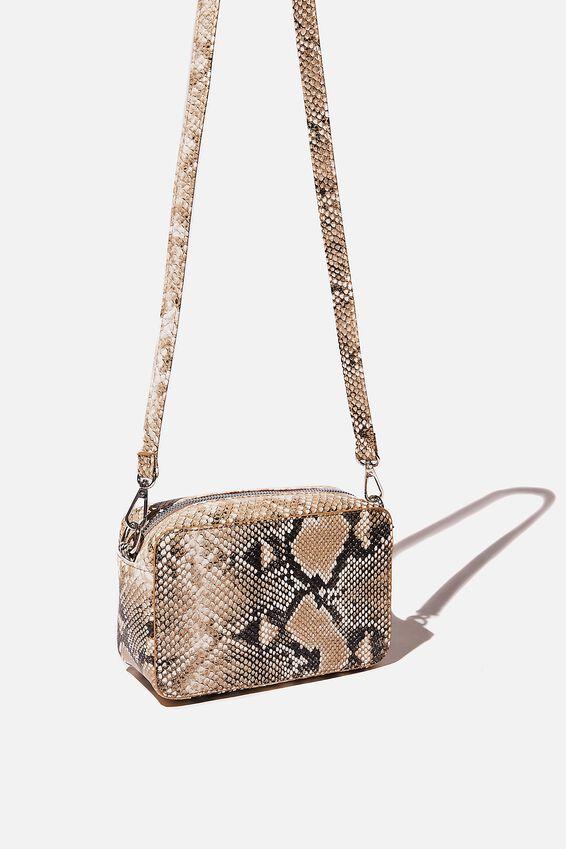 Stevie Boxy Cross Body Bag, BLACK/WHITE MULTI