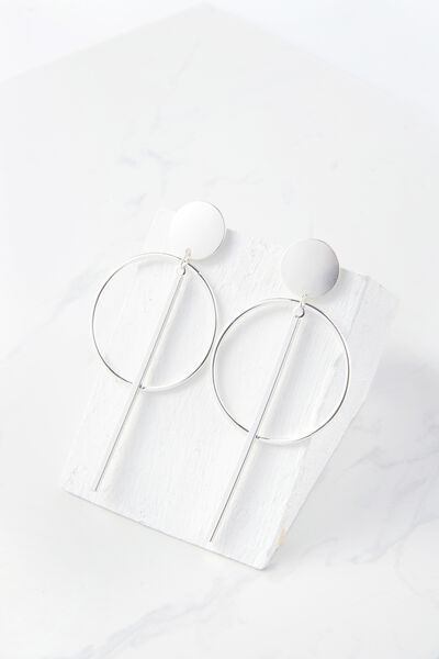 Metal Double Hoop Statement Earring, SILVER