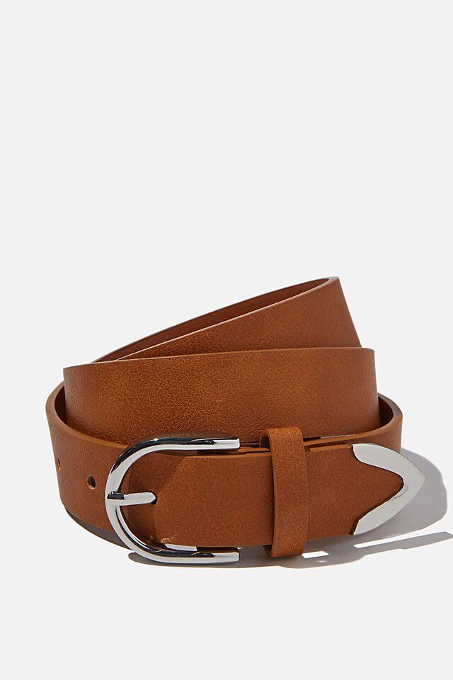To The Point Buckle Belt, TAN/ SILVER