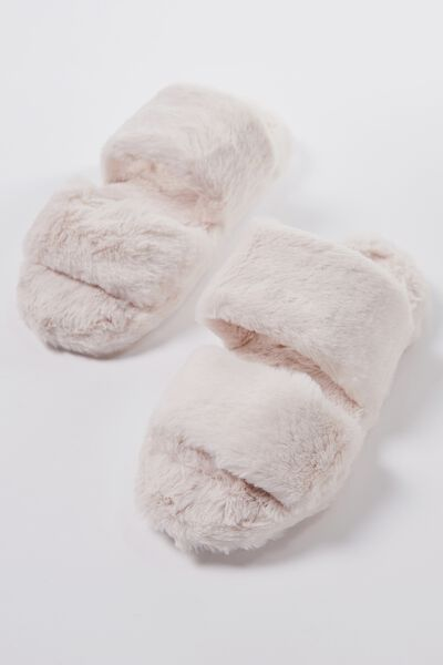 Double Strap Fluff Slipper, WINTER WHITE