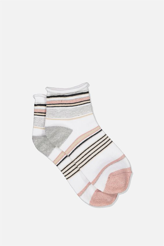 Roll Top Quarter Crew Sock, WHITE MIX STRIPE