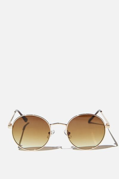Emmi Metal Frame Sunglasses, BROWN/ GOLD