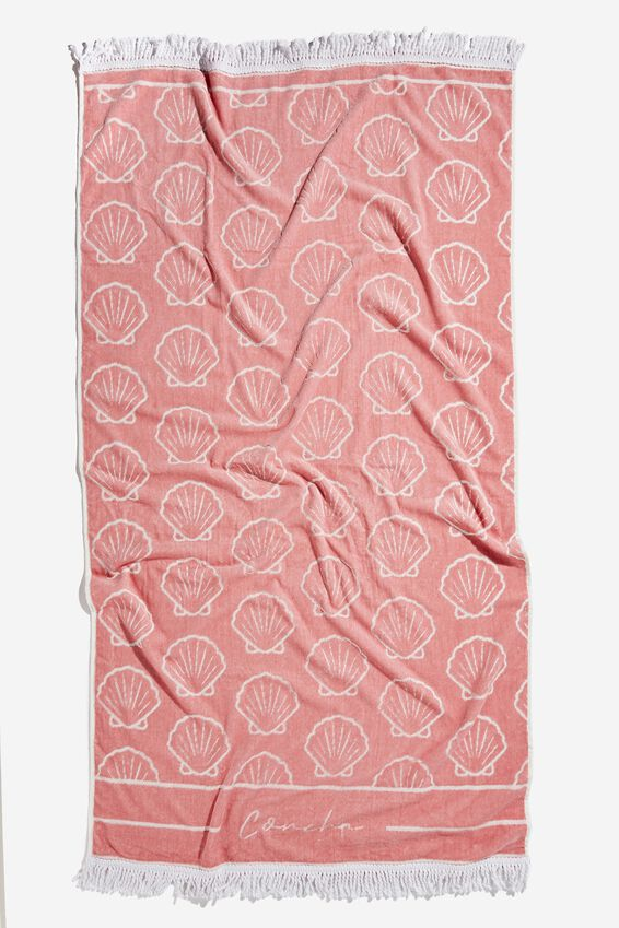 Bondi Rectangle Towel, CALI PINK SHELL