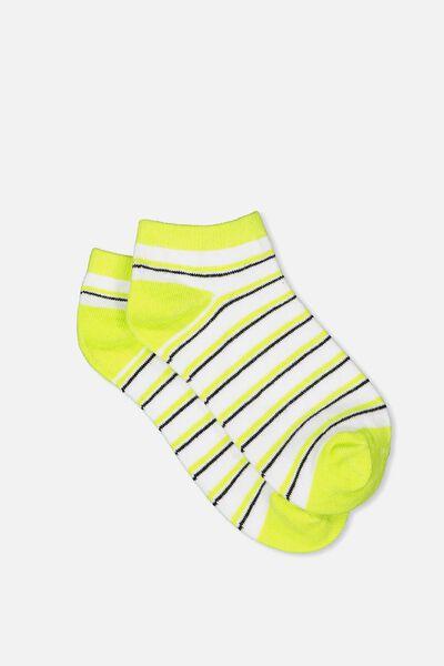 Get Shorty Ankle Sock, WHITE/LIMEADE STRIPE