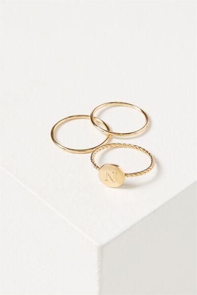 Letter Pendant Ring, GOLD - N