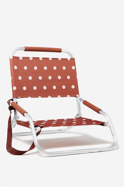 Lay Low Beach Chair, RUST POLKA DOT