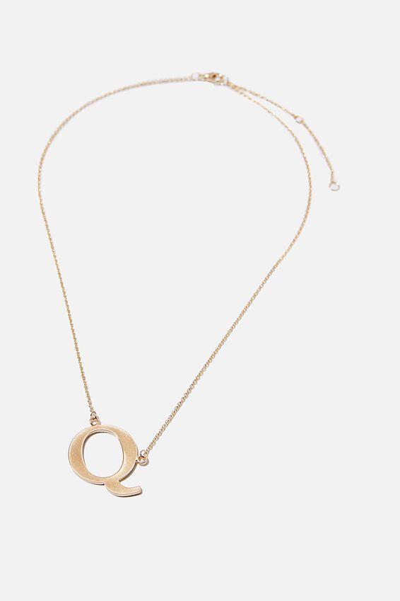 Tilted Letter Necklace, GOLD Q