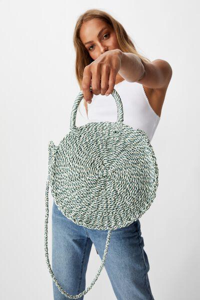 Summer Love Woven Circle Bag, SAGE TWIST