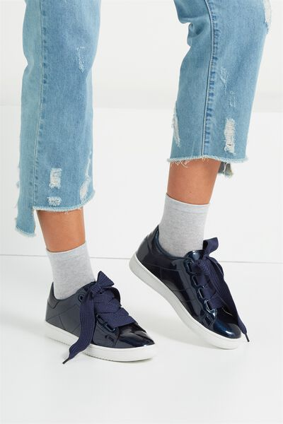 Cathryn Bow Sneaker, NAVY PATENT