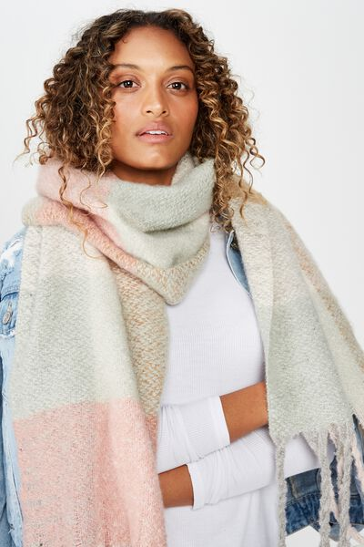 Pippa Brushed Tassel Scarf, NEUTRAL CHECK